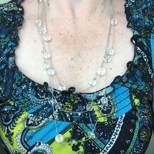 American Eagle Glass Faceted Bead 3 Tier Necklace